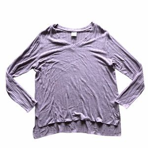 Mote Lavender Long Sleeve Ribbed Top